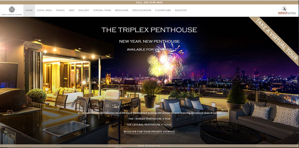Screenshot of the website for Parliament House by Telford Homes