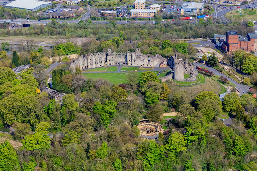 An aerial image looking down on Dudley Castle